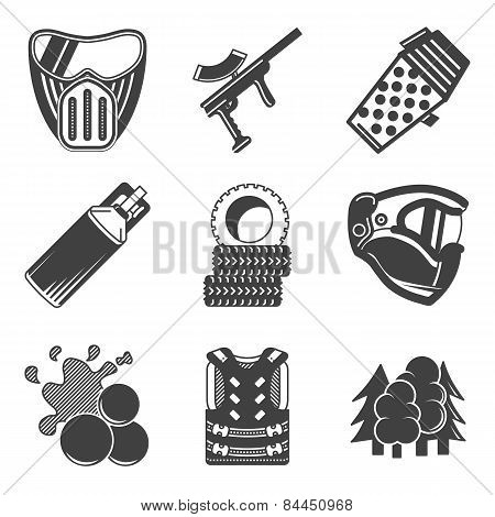 Paintball black vector icons