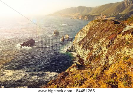Wild Ocean Coastline, Big Sur, California, Usa