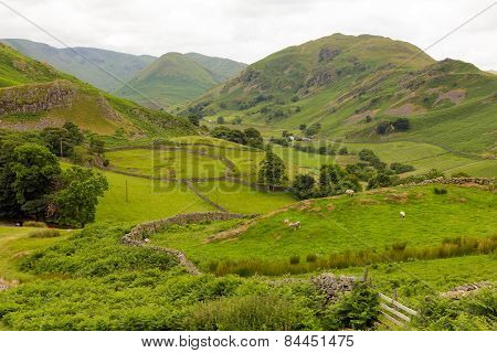 Dry stone walls and mountains Martindale Valley Lake District Cumbria England uk