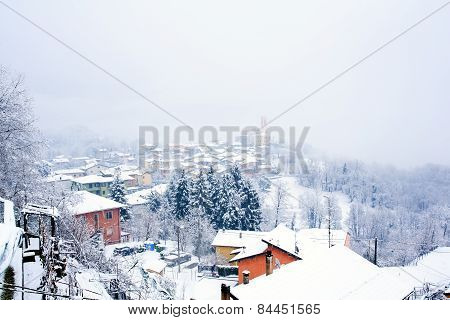 Town Covered By Snow