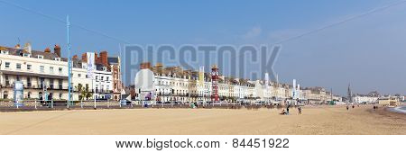 Weymouth beach and seafront Dorset England UK in summer panoramic composition