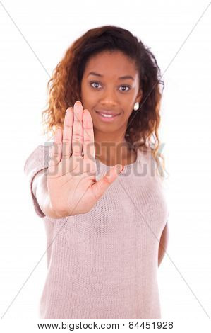 African American Making Stop Sign With Her Hand Palm Isolated On White Background - Black People