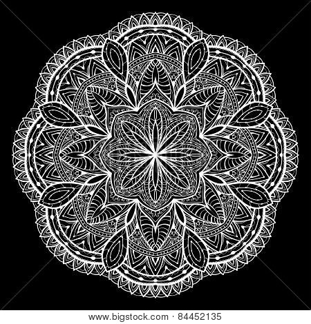 Knitted, Lacy, Vector Mandala On A Black Background
