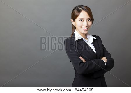Beautiful Asian Businesswoman Portrait With Gray Background