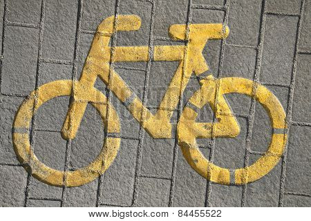 Road Sign For Bikes And  Cyclists Outdoors