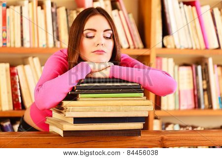 Tired Girl Student In College Library