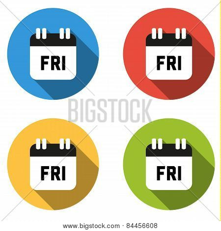 Collection Of 4 Isolated Flat Colorful Buttons For Friday (calendar Icon)