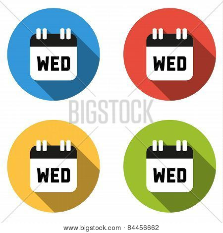 Collection Of 4 Isolated Flat Colorful Buttons For Wednesday (calendar Icon)