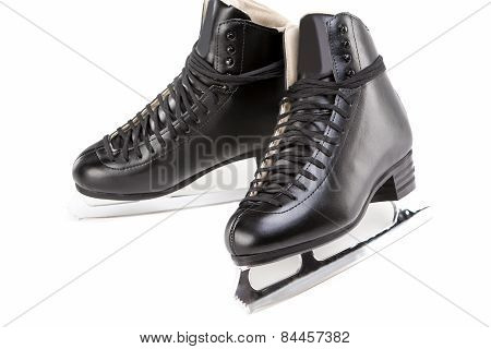 Pair Of Professional Male Figure Skates Together. Isolated Over White Background.