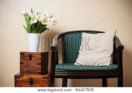 Home interior, vintage chair
