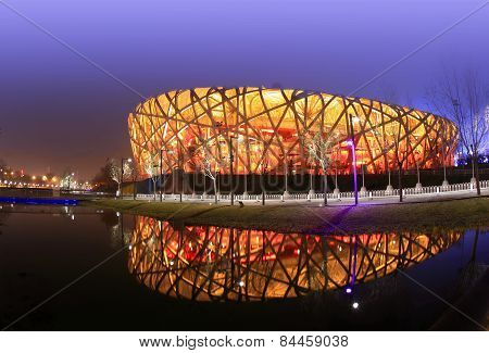 illuminated Beijing Olympic Stadium