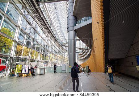 Tokyo, Japan - November 26, 2013: People Visit Tokyo International Forum
