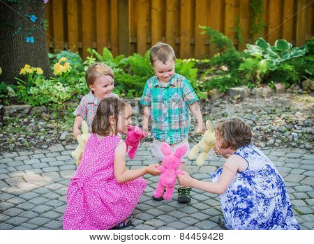 Children Playing Ring Around The Rosie Game