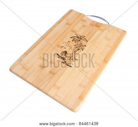 Wood Cutting Board. Wood Cutting Board On A Background.
