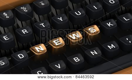 Typewriter with NEWS buttons