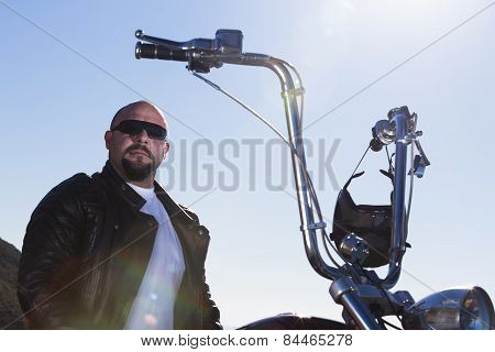 Portrait Of A Chopper Motorcycle Rider.