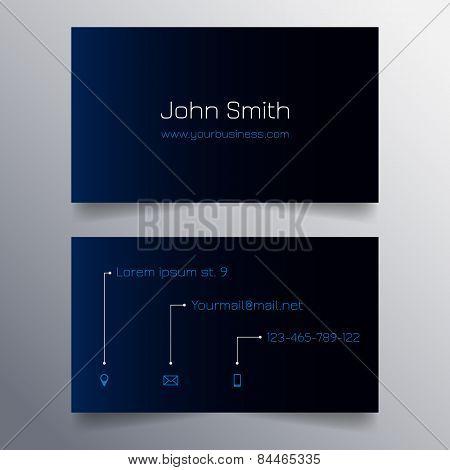 Business card template - modern blue and black sleek design
