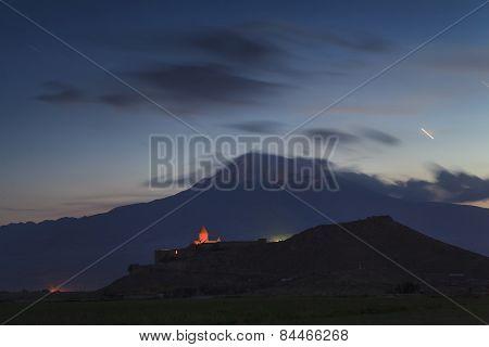 The Ancient Church Of Khor Virap On The Background Of Mount Ararat. Armenia.