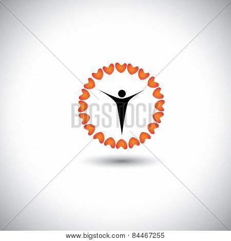 Flower Of Love Hearts With Compassionate Person In The Center - Concept Vector Icon