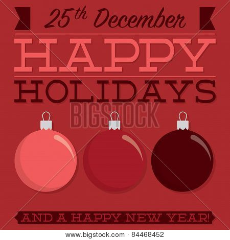 Retro Typographic Bauble Card In Vector Format