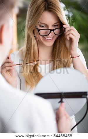 Woman Choosing New Glasses