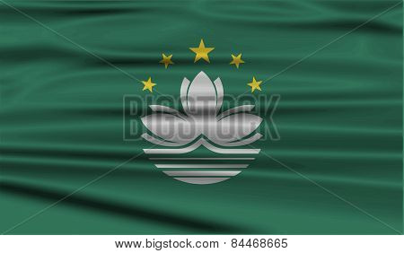 Flag Of Macau With Old Texture. Vector