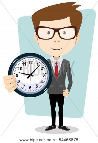 Businessman holding a clock, vector illustration