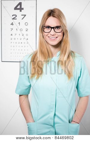 Smiling Optician Wearing Glasses