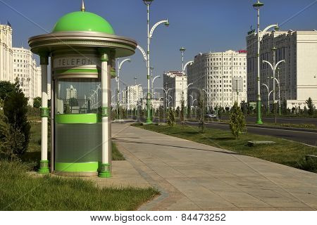 Ashgabat, Turkmenistan - October 15, 2014: Modern Architecture Of Ashgabat. Telephone Booth.