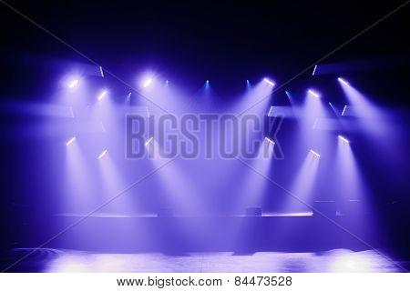 Spot Lights On A Empty Stage