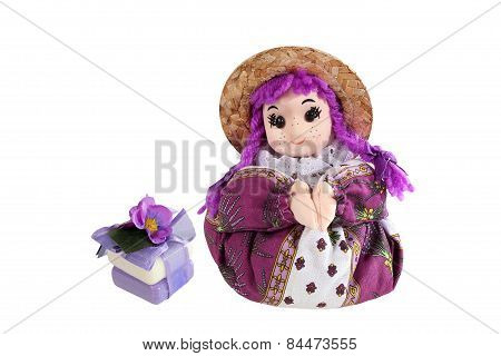 Herbs Soap  And Scented Sachets Lavender  In The Form Of Dolls From The Provence.