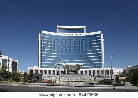 Ashgabat, Turkmenistan - October 15, 2014: Modern Architecture Of Ashgabat. Oguzkent Hotel. Ashkhaba