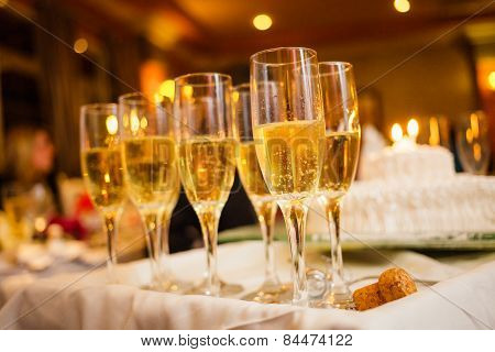 Many Champagne Glasses On A Tray