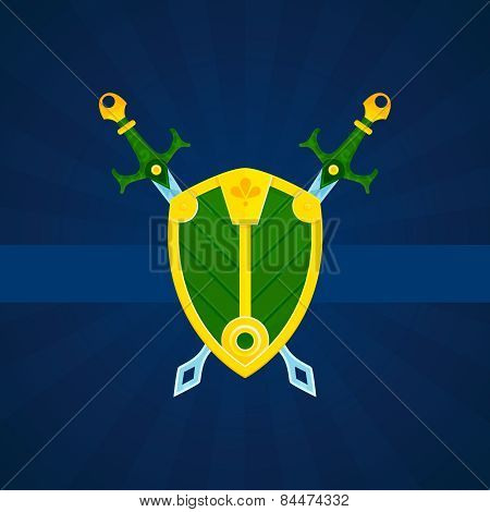 Shield and swords print poster
