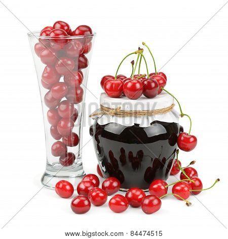 Cherries And Jars Of Jam