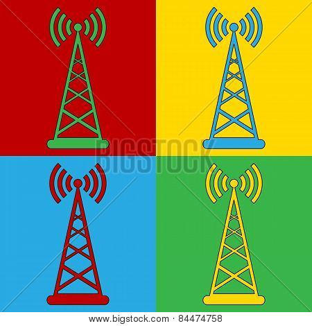 Pop Art Transmitter Symbol Icons.