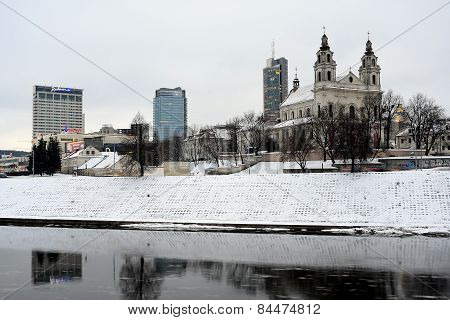 Vilnius Archangel Church On The Board River Neris