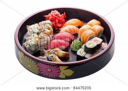 Sushi Set Over White Background