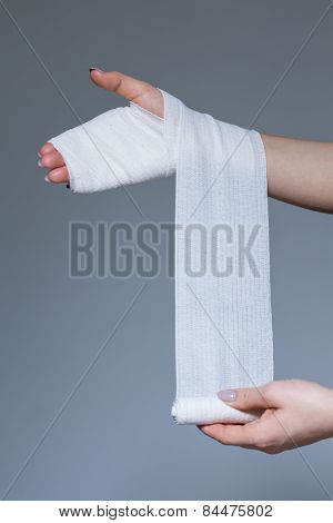 Woman Is Wearing Bandage