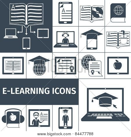E-learning Icon Black Set
