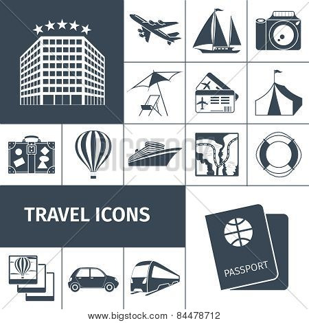 Travel Icons Black Set