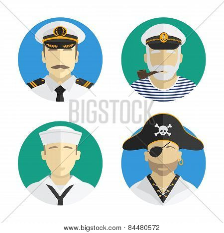 Avatars People. Profession. Sailor, Pirate, Captain. Vector Flat Design