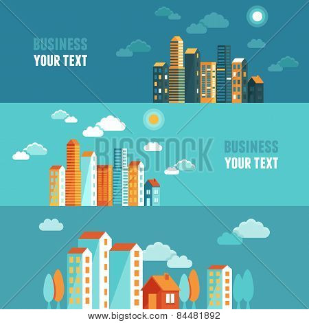Vector City Illustration In Flat Simple Style