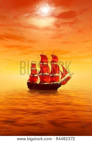 Sunrise. Lonely Sailing Ship