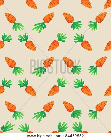 Carrot  Seamless Pattern. Carrots For Easter Bunny. Vector Seamless Texture With A Lot Of Cartoon Ca