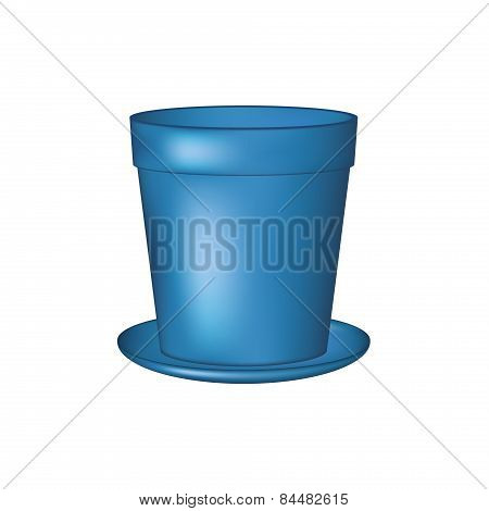 Empty flowerpot in blue design