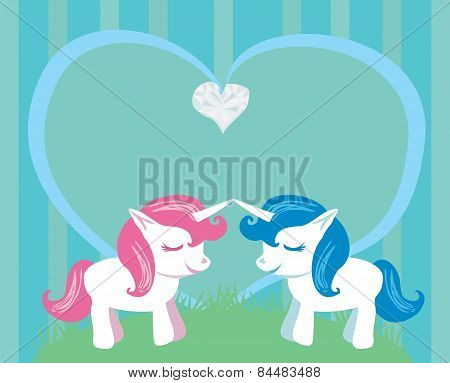 Couple Of Cartoon Unicorns In Love