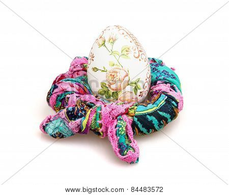 Big Easter Egg And Colorful Scarf On The White Background