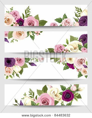 Vector banners with colorful roses, lisianthus and anemone flowers.