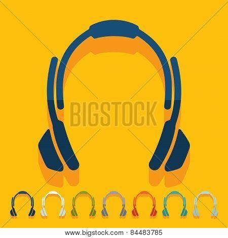 Flat design. headphones